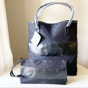 Burberry - Embossed Black Tote and Pouch Set